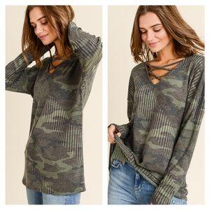 Tops - Camo Army Green Ribbed Criss Cross Long Sleeve Top
